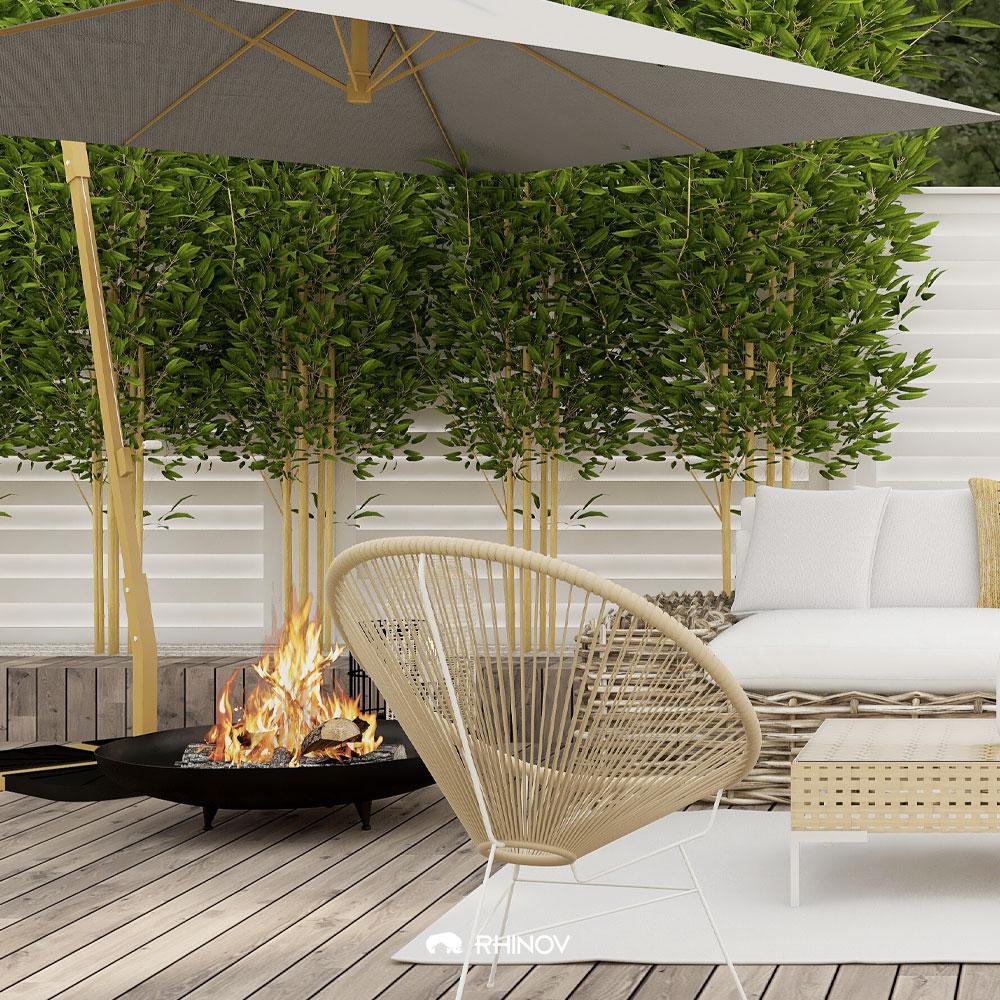terrasse devant maison meubles sobres