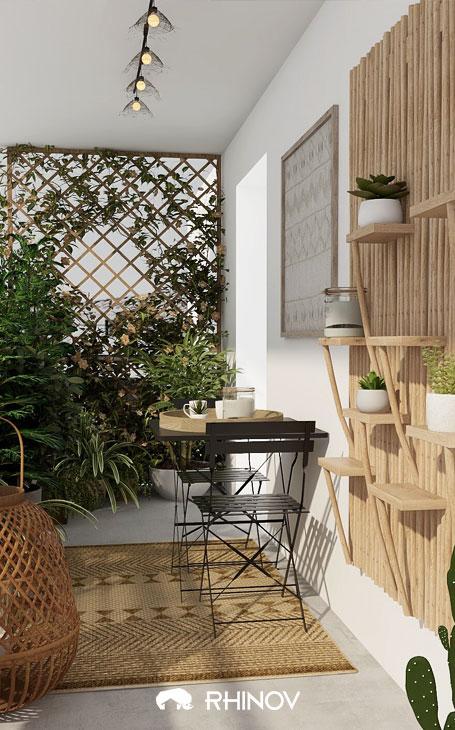 claustras bois et végétaux pour brise vue aménagement terrasse devant maison