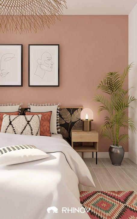 décoration chambre ethnique couleur rose
