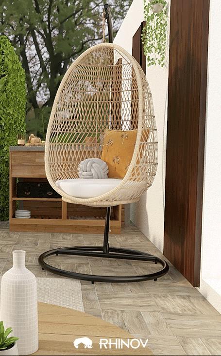 décoration extérieure fauteuil suspendu