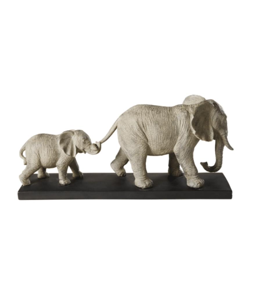 MARCHE DES ELEPHANTS - Statuette grise