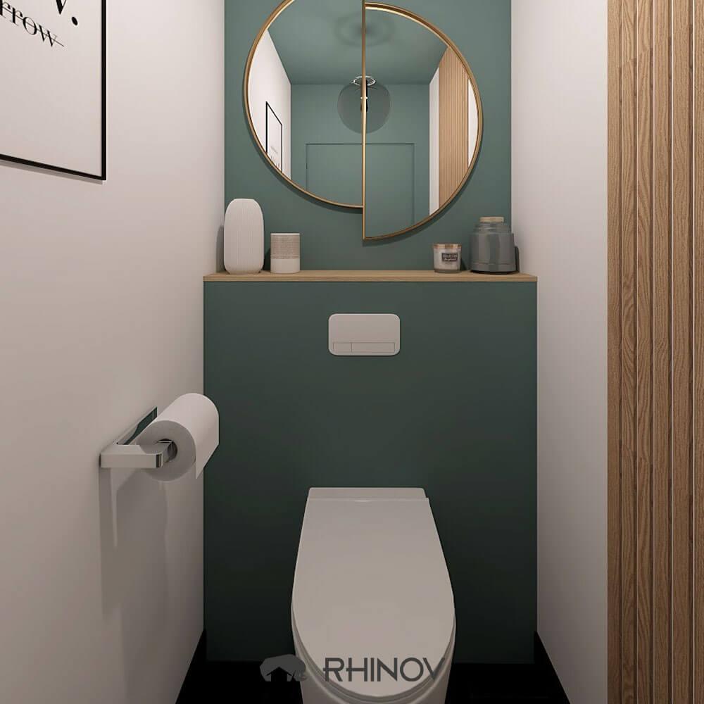 idée toilettes bleus et deco blanche