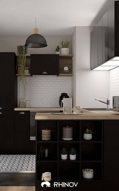 ilot central d'une cuisine moderne