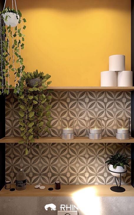 originalité idee wc jaune avec meuble