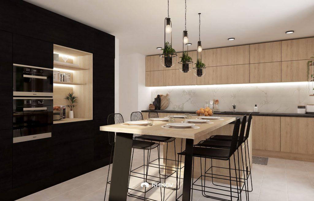 cuisine minimaliste noire et bois