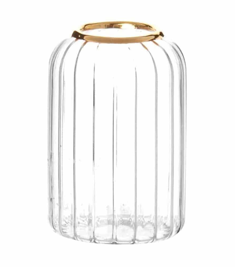 MAELA - Vase en verre strié et doré H7