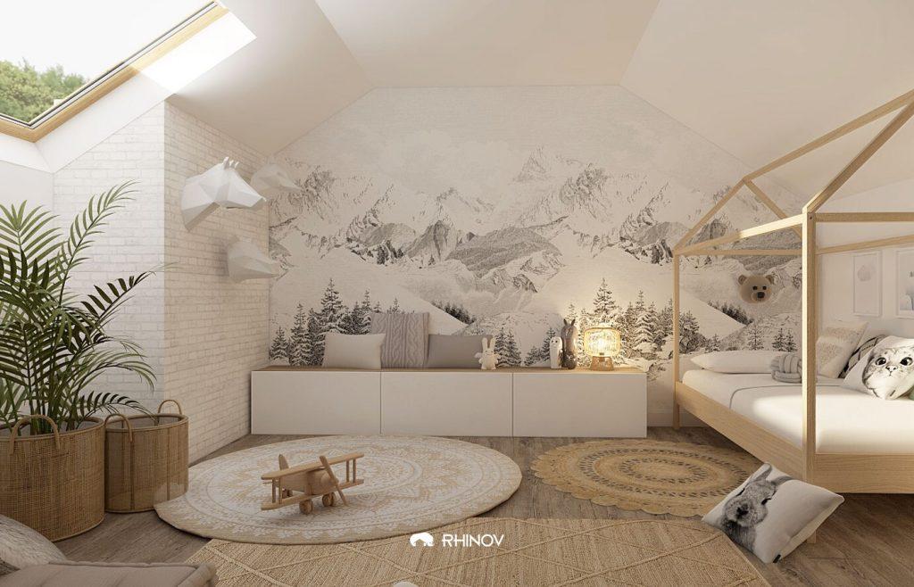 chambre sous les combles enfant style scandinave