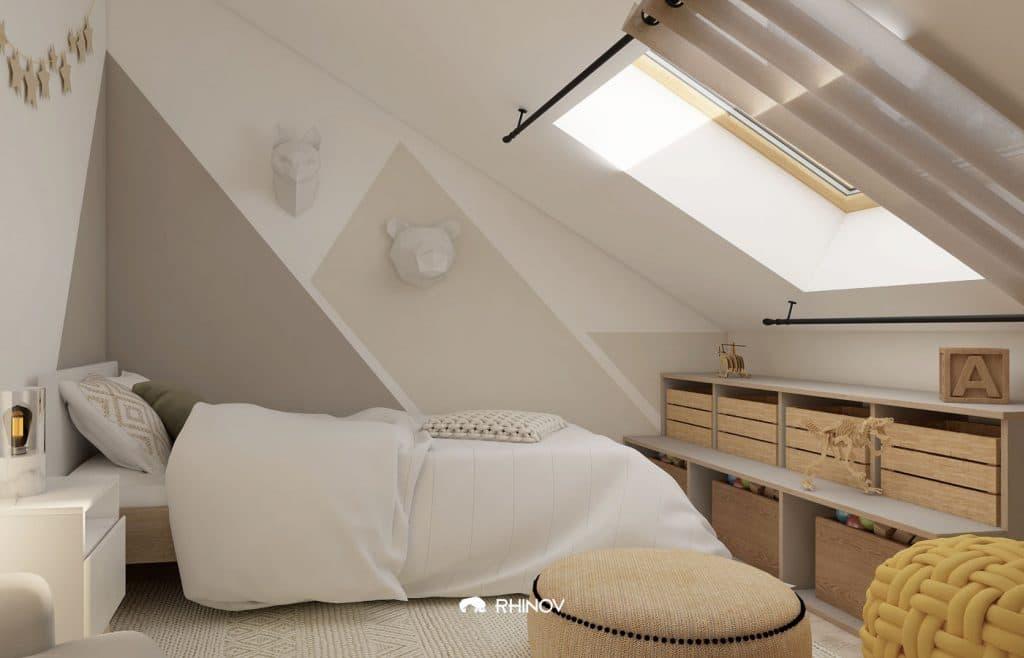 chambre sous pentes rideaux fenêtre de toit