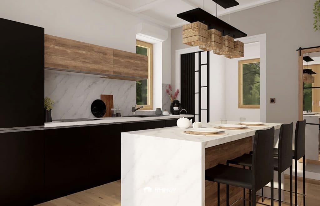 cuisine minimaliste revetement en marbre