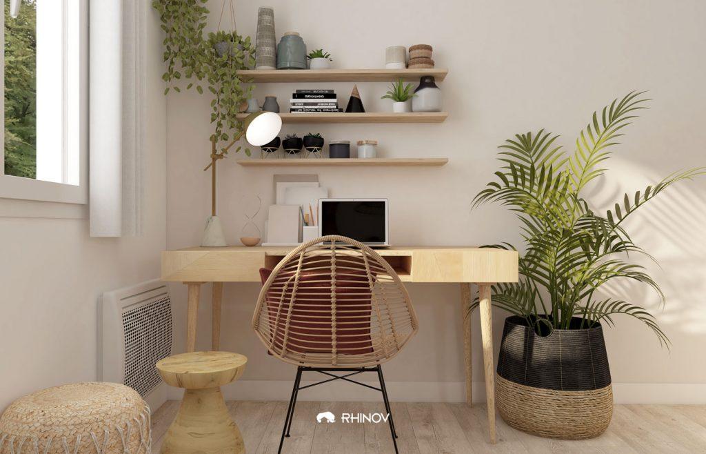 plantes suspendues bureau cosy