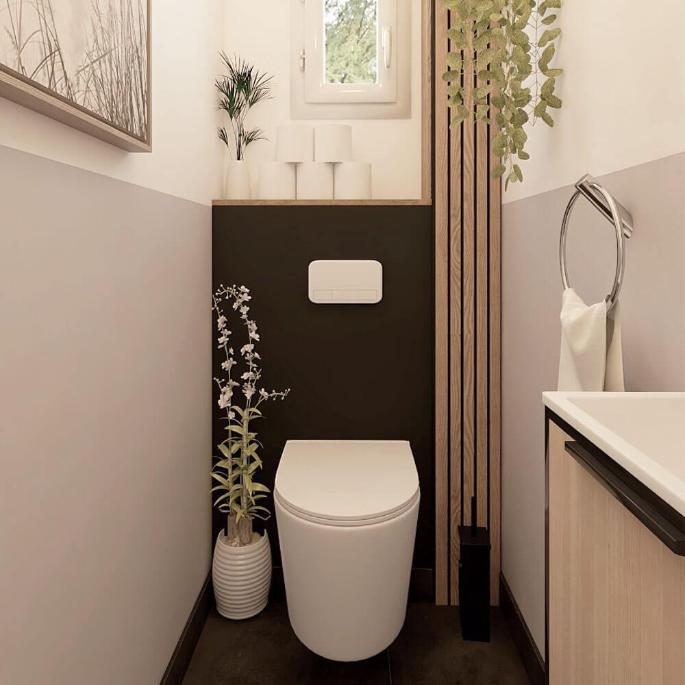 melange peinture noire et claire dans wc