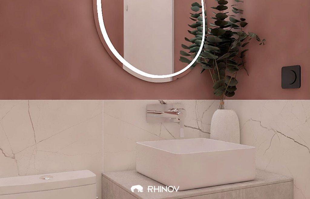 peinture originalité avec carrelage au sol wc