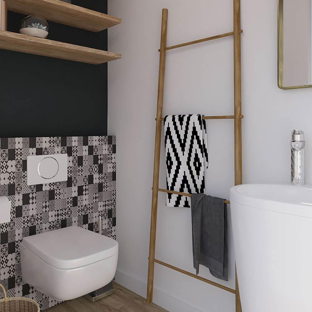 carreaux au mur et peinture foncé pour wc