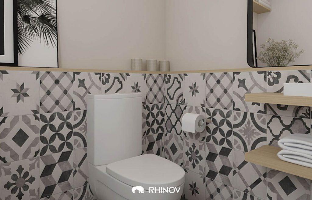 carreaux de ciment dans wc gris
