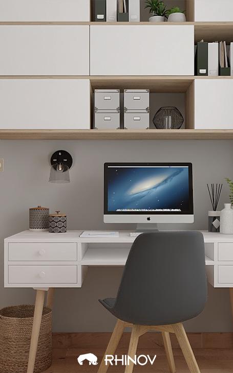 bureau contemporain avec pleins de rangements