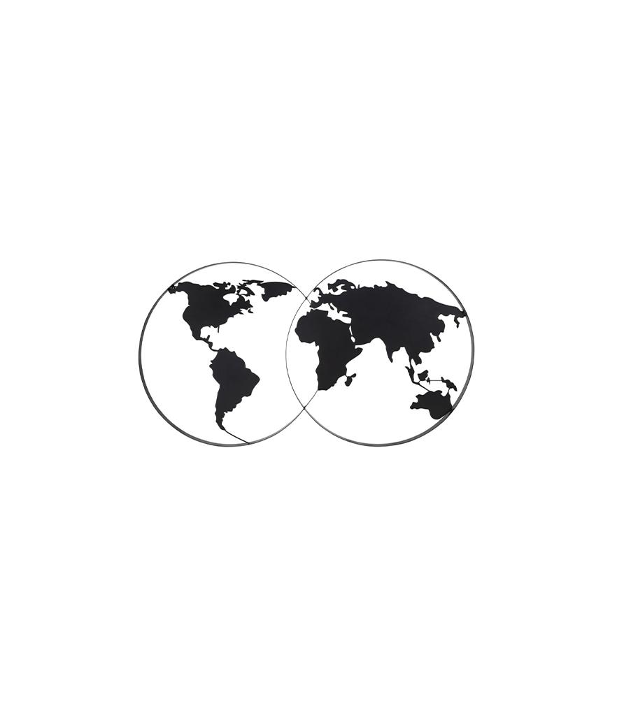 Déco murale carte du monde en métal noir