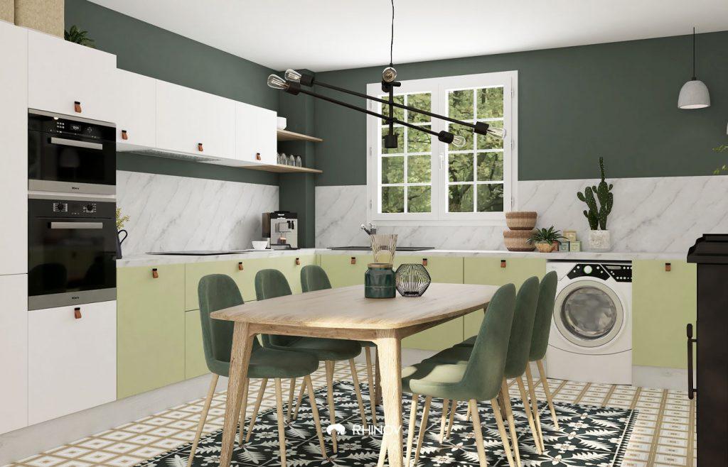 cuisine vert fonce et vert clair