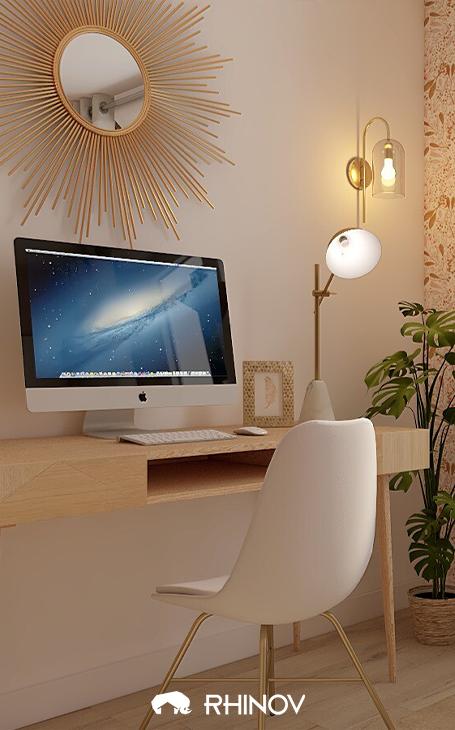 bureau style charme dans les tons chauds