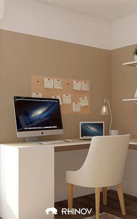 déco mur bureau contemporain avec pêle-mêle