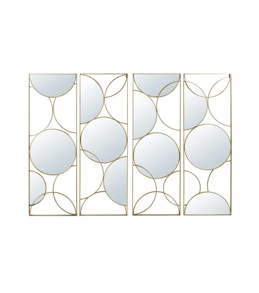 Miroir quadriptyque en métal doré